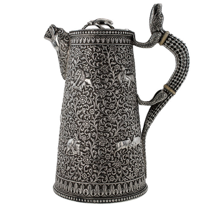 Antique Indian Silver Water Jug, Crocodile Handle, Kutch (cutch) India – Circa 1880
