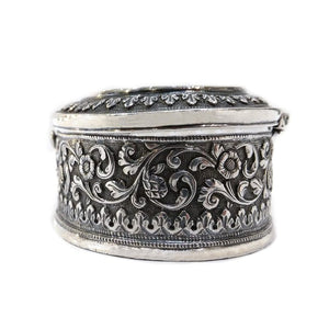 Antique Indian Silver Oval Box, Oomersi Mawji, Bhuj, Kutch, India – Circa 1880