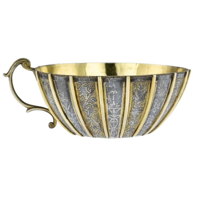 Antique Ottoman Silver, Parcel Gilt And Niello  Hammam Bowl, Ottoman Bosnia – Mid 18th Century