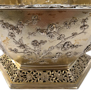 Silver Antique Gilt Bowl Hexagonal In The Oriental Style London England 1910