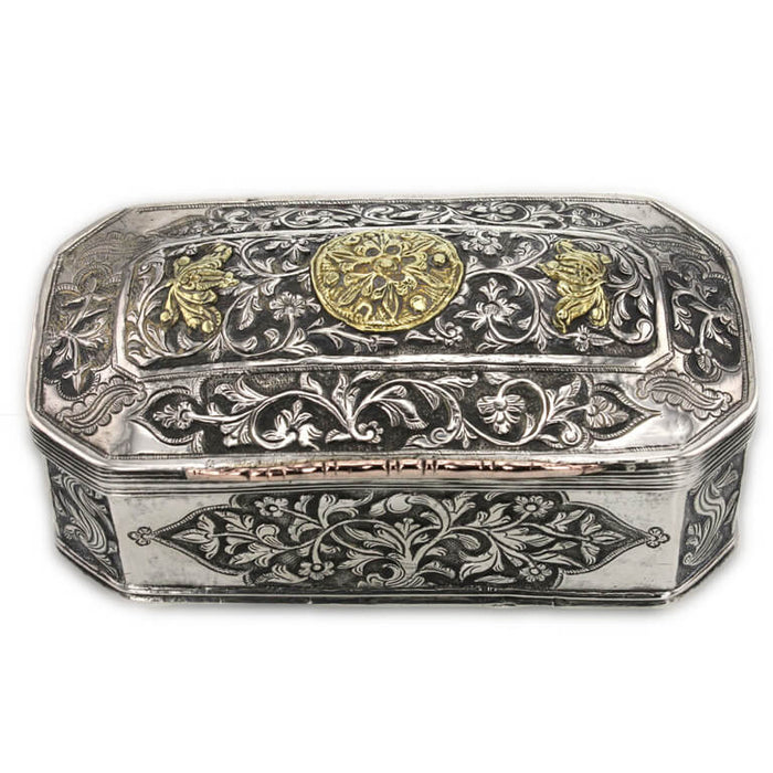 Antique Sumatran Silver Box, Applied Gold, Sumatra, Indonesia – 18th Century