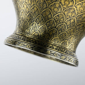 Antique Thai  Silver Gilt and Niello Betel Leaf Holder, Thailand Siam  -  Mid 19th Century