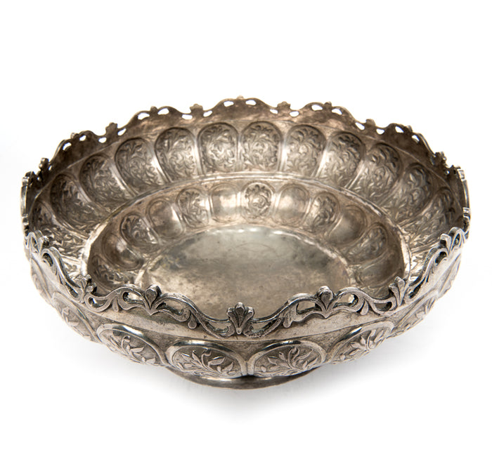 Antique Malay Silver Bowl, Pierced Rim Malaysia – Circa 1900