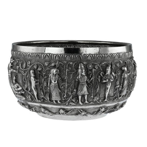 Unusual Indian Silver Bowl, Tutankhamun, Large Size, Signed, India – Circa 1925