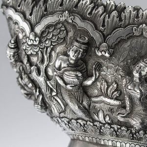 Wonderful Figural Border Burmese Silver Dishes