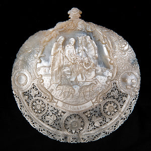 Antique Mother Of Pearl Carved Shell, Nativity Scene, Large Size, Bethlehem, The Holy Land – Late 19th Century
