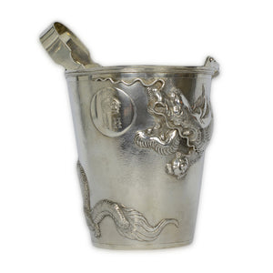 Antique Chinese Export Silver Ice Bucket & Tongs with Dragon Decoration, Shanghai, China – circa 1920