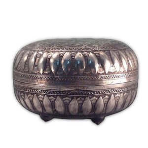 Antique Malay Silver Lidded Betel Container, Circular, Malaysia – 19th Century
