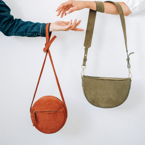 Lia Suede Leather Circle Bag, Dani Suede Leather Olive ann kurz