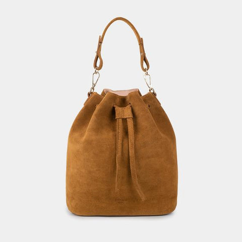 Saku Suede Leather Bucket Bag Pearl Wood - ann kurz