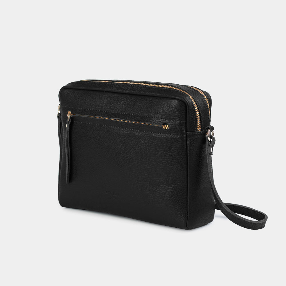 Cubo Grained Black Shoulder Bag - ann kurz