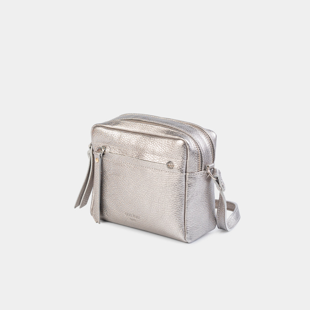 Cubo Mini Bag Metallic Silver
