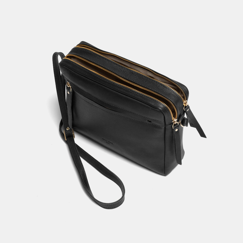 Cubo Nappa Black Shoulder Bag - ann kurz