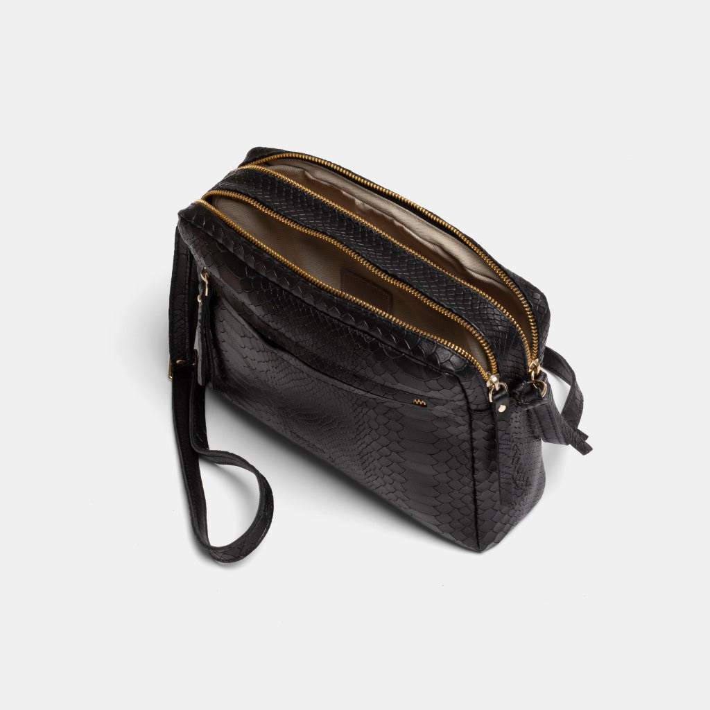 Cubo Snake Black Shoulder Bag