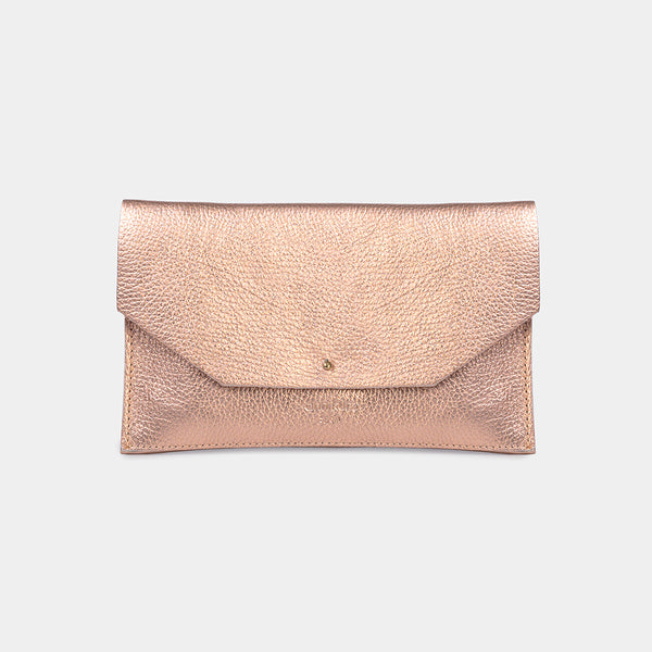 Mia Envelope Grained Metallic Rosè Purse