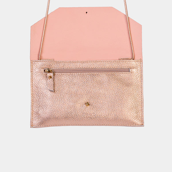 Envelope Grained Metallic Rosè Purse