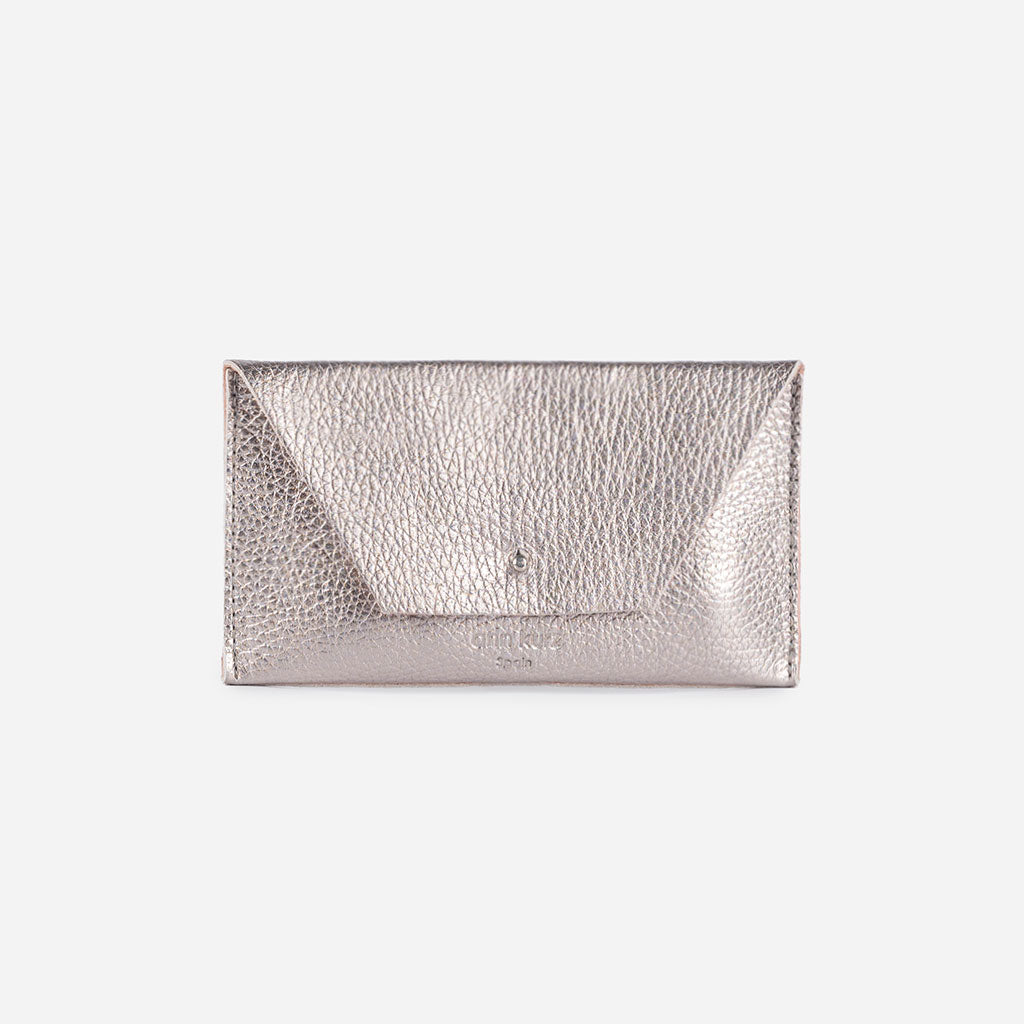 Mia Mini Grained Metallic Silver Wallet - ann kurz