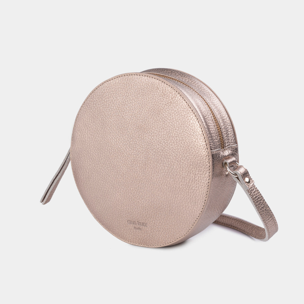 Pia Metallic Rosè Circle Bag