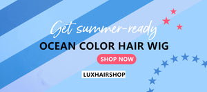 Ocean Blue color Hair Wig