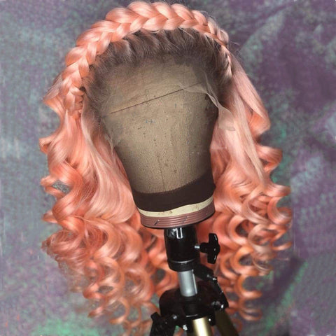 Light Pink Color with Black Root Loose Wavy wig
