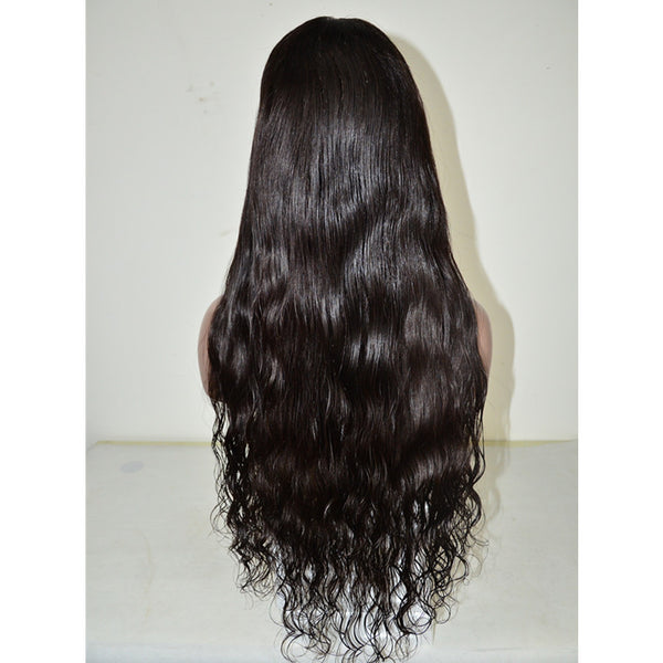 Peruvian hair Natural Wavy Long Hair Full Lace Wig Black
