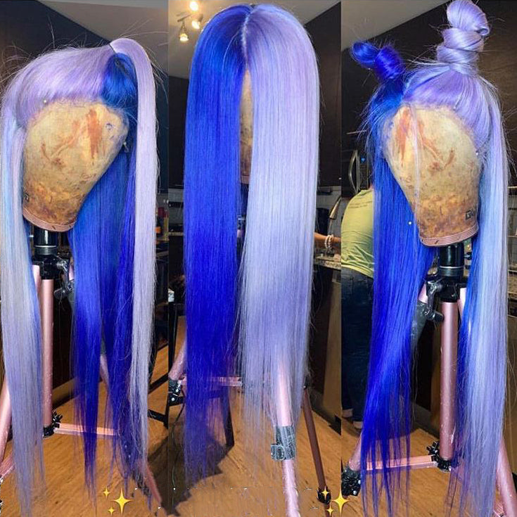 Peruvian Hair Half Purple And Half Blue Color Lace Front Wig