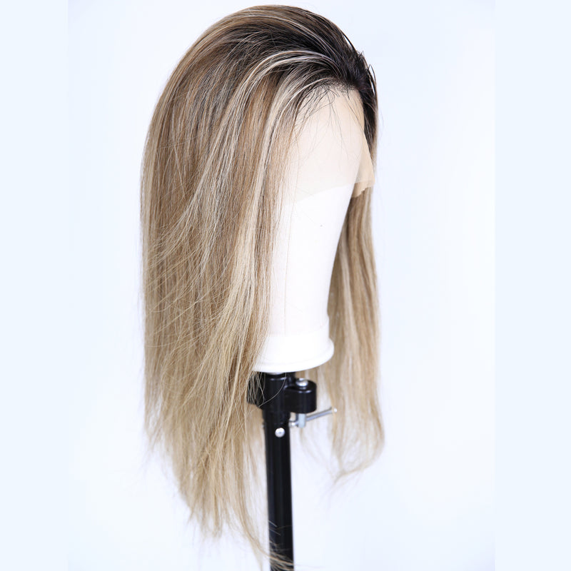 Peruvian Hair Blond Mix Brown With Black Root Color Straight Full Lace Wig