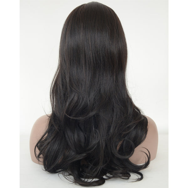 Synthetic Hair Black Color Body Wavy Long Hair Machine Made Wig