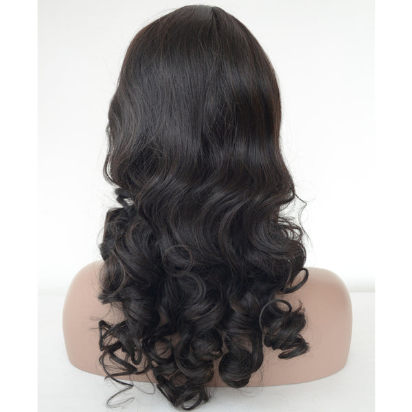 Synthetic Hair Natural Color Curly Long Hair Machine Made Wig