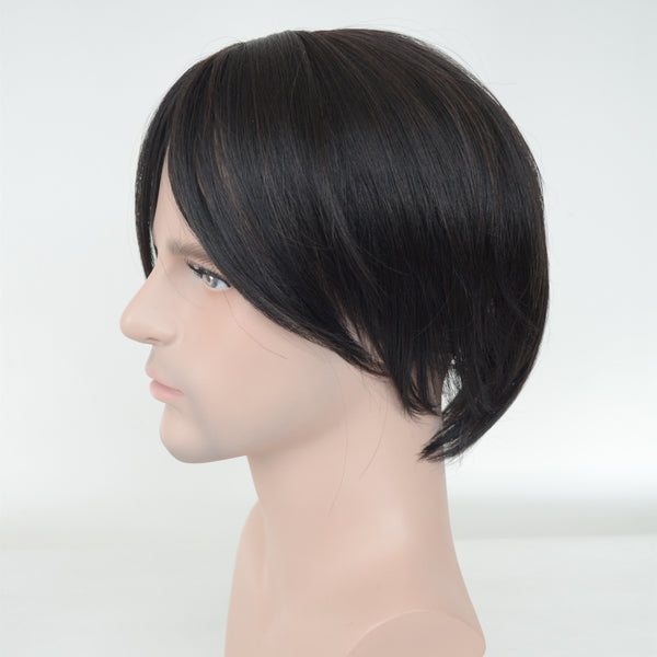 Synthetic Hair Black Color Machine Made Toupee