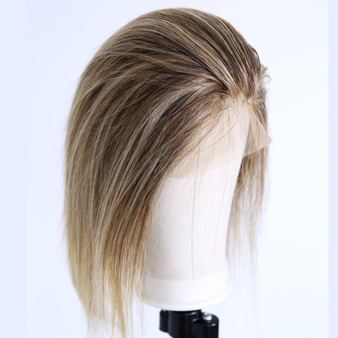 Peruvian Hair Brown Mix Blond Spot Color Straight Short Full Lace Wig