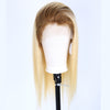 Image of Peruvian Hair Blond With Brown Root Color Straight Fashion Full Lace Wig
