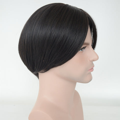 Synthetic Hair Black Color Straight Hair Machine Made Toupee