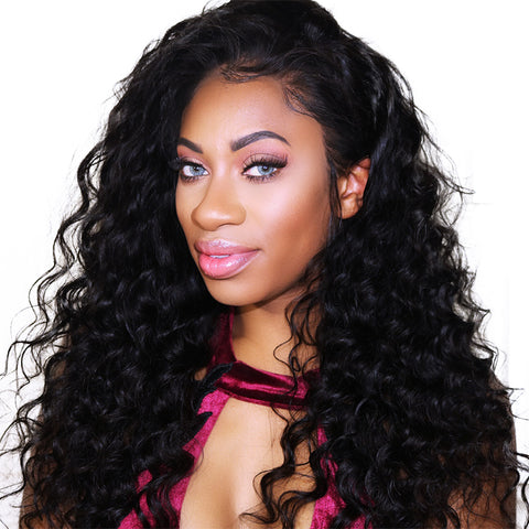 Brazilian Human Hair Black Color Loose Wave Lace Front Wig