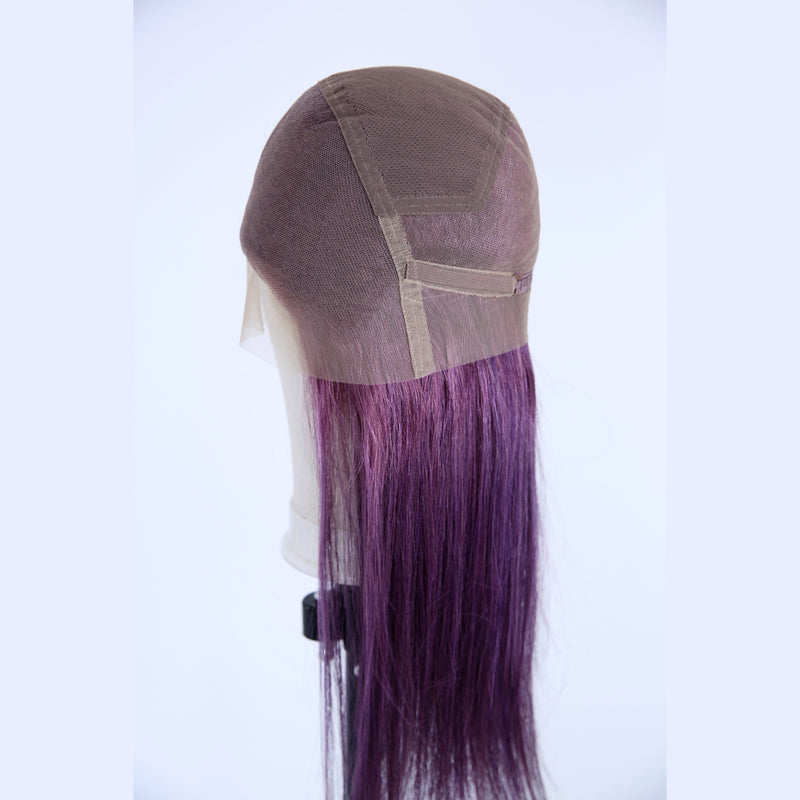 Peruvian Hair Fashion Straight Full Lace Wig Purple Color