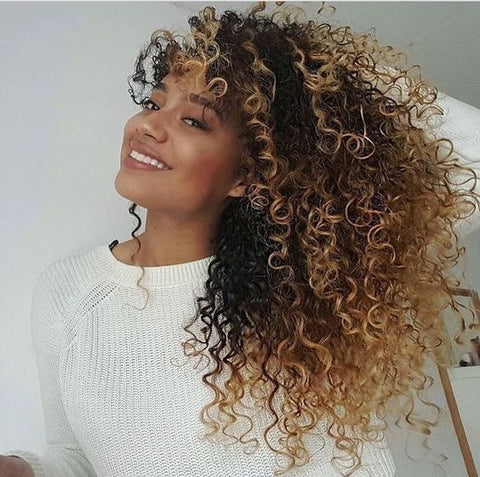 Brazilian Hair Natural Color Mix Blond Curly Full Lace Wig