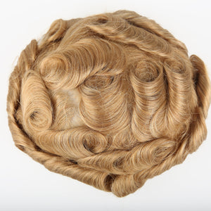 European Virgin Human Hair Blond Thin Skin Base Man Toupee V-LOOP