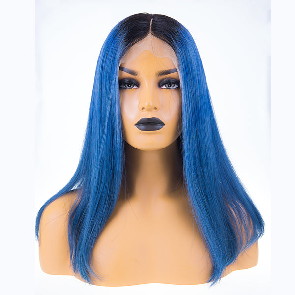 Peruvian Hair Blue With Black Root Color Straight Full lace wig