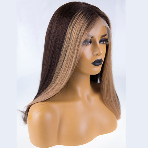 Peruvian Hair Dark Brown With Light Browm Color Straight Full lace Wig