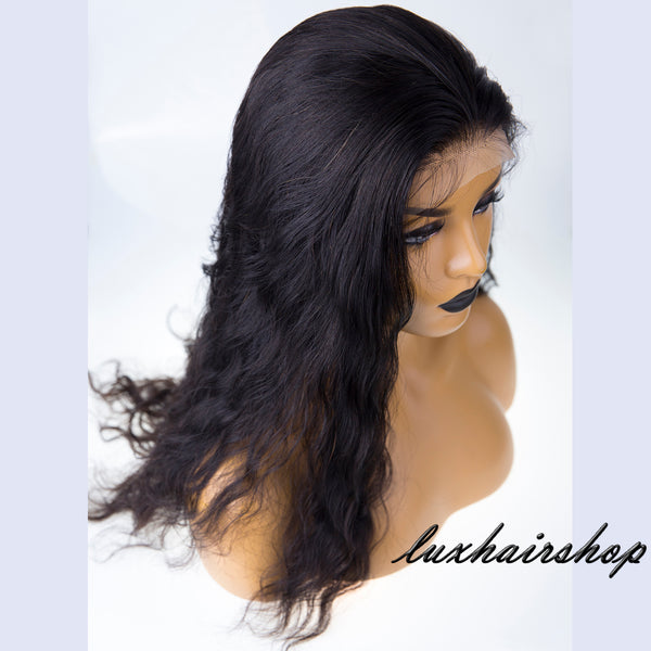 Peruvian Human Hair Loose Wavy Black Color Lace Front Wig