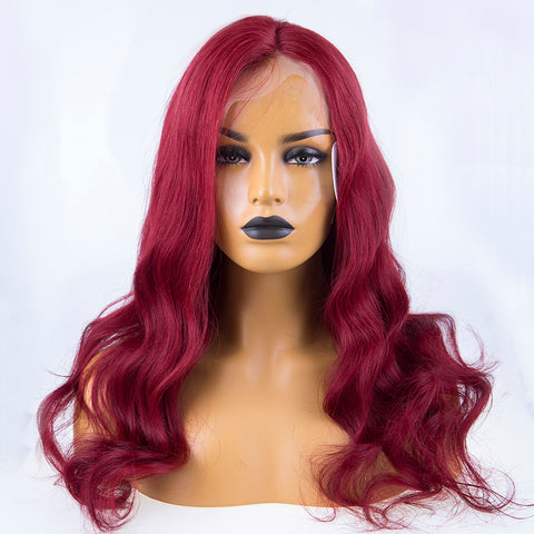 Peruvian Hair Full Lace Wig Burgundy Color Body Wavy