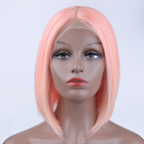 Peruvian Hair Light Pink Color Straight Lace Front Bob Wig