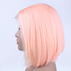 Image of Peruvian Hair Light Pink Color Straight Lace Front Bob Wig