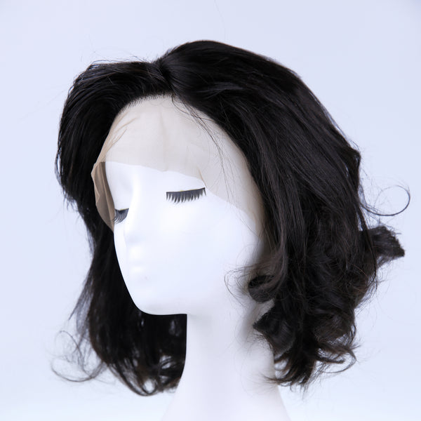Peruvian Hair Natural Color Lace Front Wig Slight Wavy