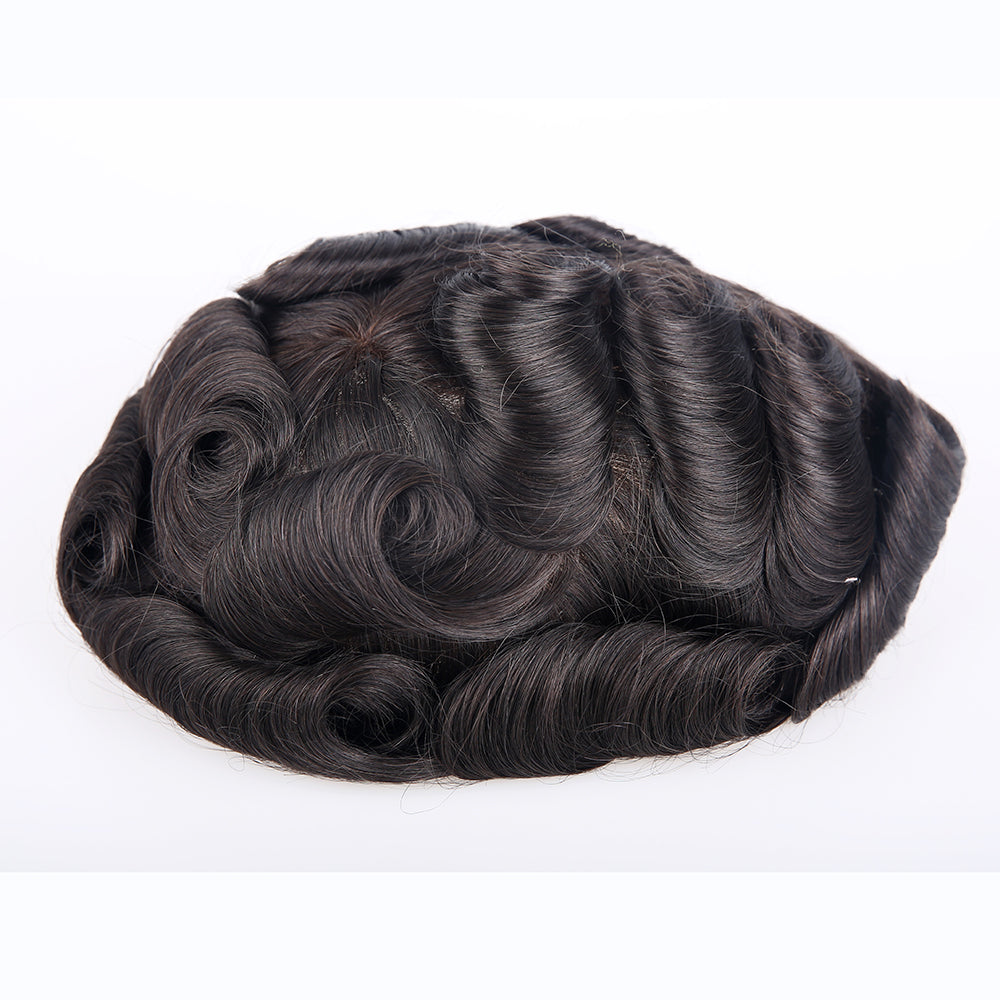 European Virgin Human Hair Double Lace 01 Base Man Toupee