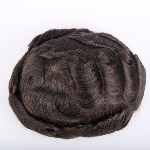 European Virgin Human Hair Man Toupee Fine Mono Top With PU Skin Around Lace Front