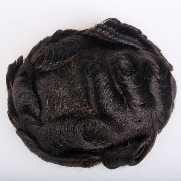 European Virgin Human Hair Natural Black Lace Front With PU Back Man Toupee