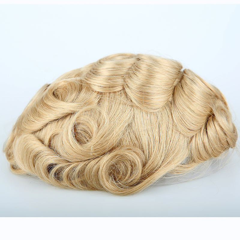European Virgin Human Hair Man Toupee Fine Mono Top With PU Skin Around Lace Front On Rite