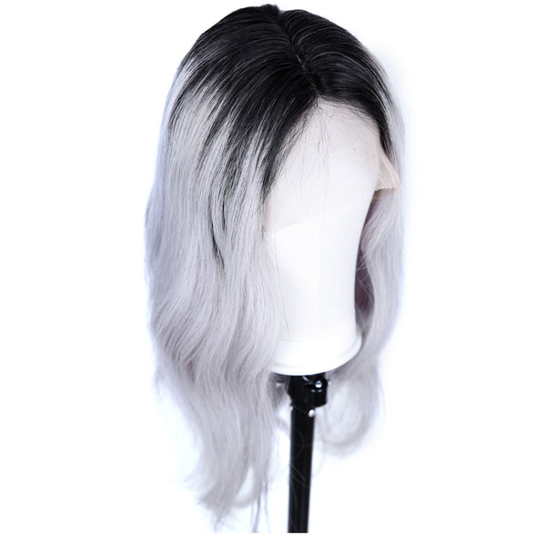 Peruvian Hair Grey With Black Root Color Body Wavy Full Lace Wig