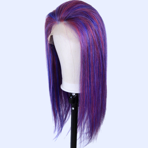 Peruvian Hair Blue And Purple Ombre Color Fashion Straight Full Lace Wig